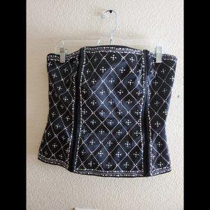 White House Black Market Black Sequin Corset Top
